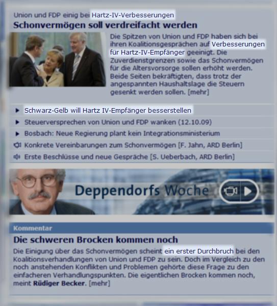 Screenshot tagesschau.de, 15.10.2009